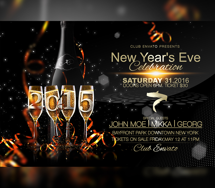 happy new year flyer template onepartyflyer