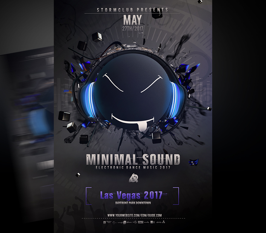 minimal sound flyer i just edit and go for your parties