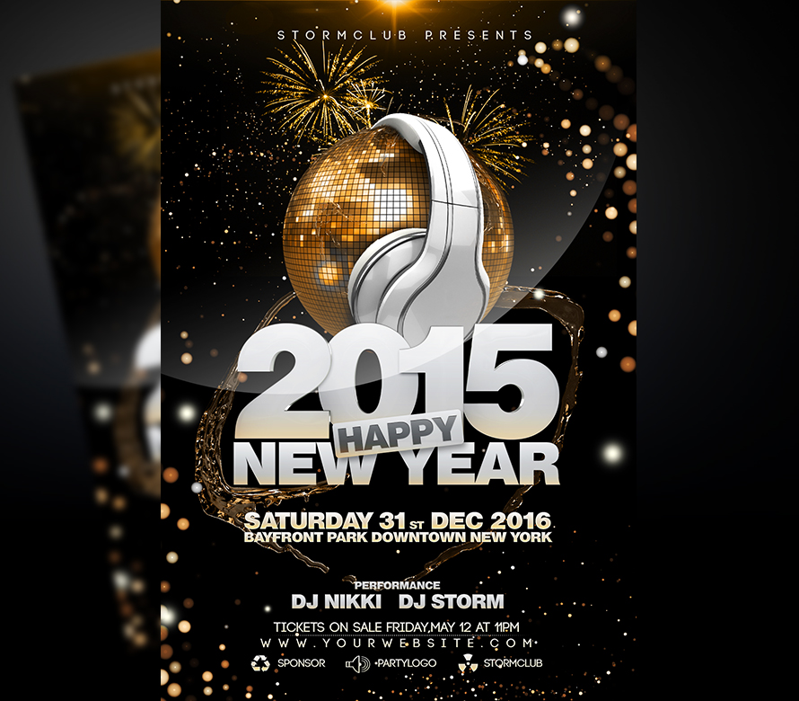 new year disco flyer template onepartyflyer