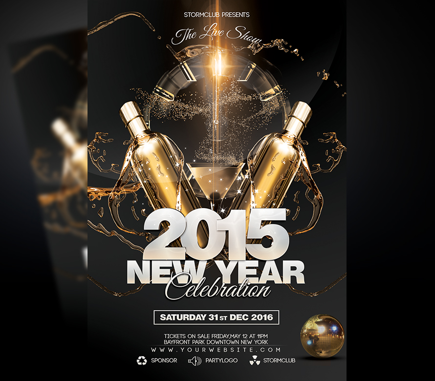 new year disco flyer onepartyflyer