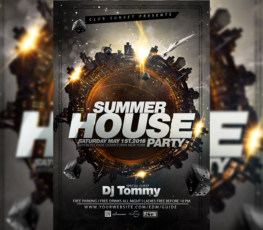 Summer House Party Flyer Template I For Your Awesome Parties
