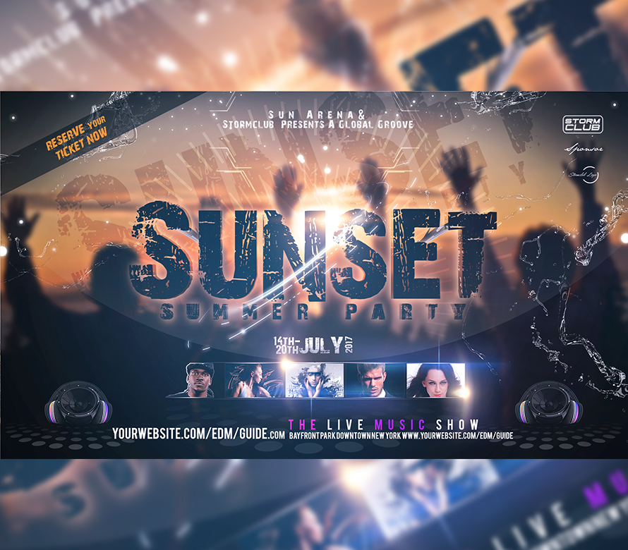 Sunset Party Flyer Template I For Your Awesome Parties