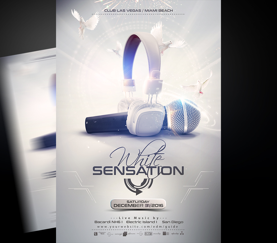 White Sensation Flyer Template I For your Awesome Parties