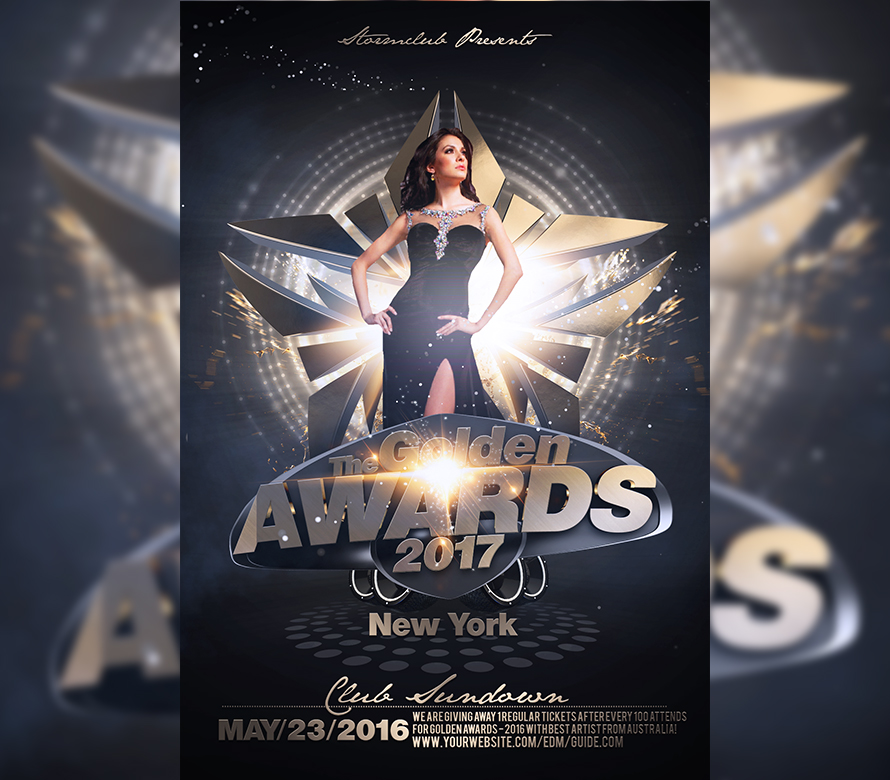 The Golden Awards Flyer Template I For Your Awesome Parties
